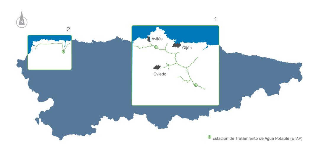 Mapa Asturias zonas de abastecimiento