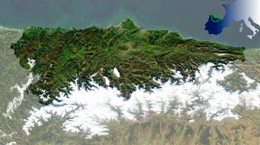Mapa satélite Asturias