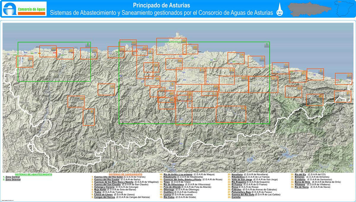 Consorcio Aguas Asturias Plano Indice Sistemas Abastecimiento Saneamiento